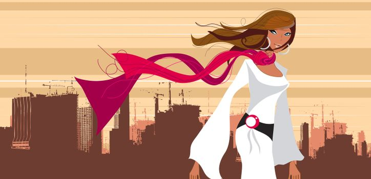 A city girl standing in front of city silhouette with hair flowing and a red scarf in her neck
