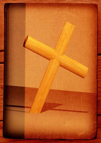 Holy cross with old yellow paper 2D computer art