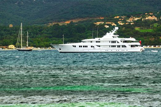 Luxury yacht at the mediterranean coast of French Riviera