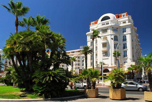 Luxury hotel on Croisette promenade in Cannes