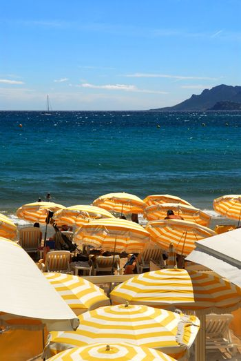 View on the beach from Croisette promenade in Cannes France