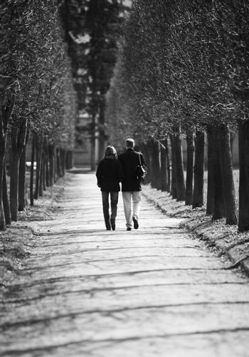 The man and the woman walk in park, b/w