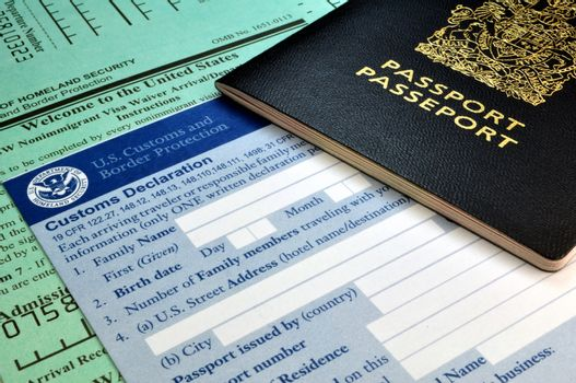 Arriving in the USA: Passport and USA Customs forms