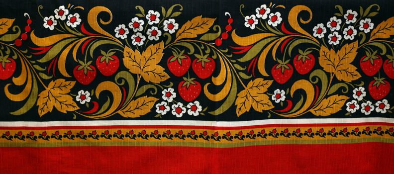 Fabric with the image of a strawberry and colors in Russian style