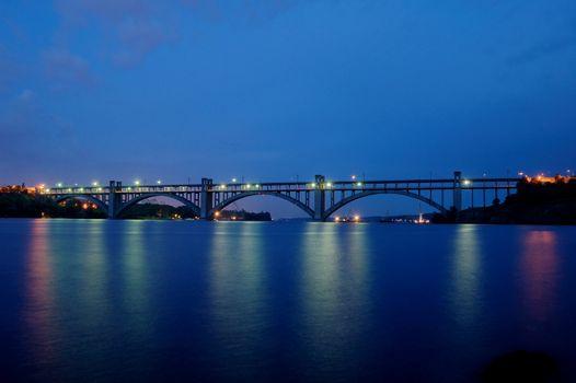Long bridge in the night