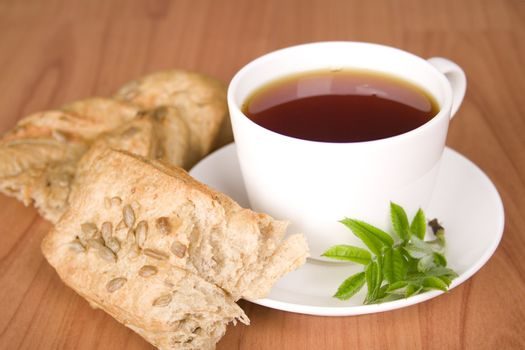 tea with herbs and bread
