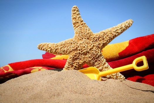 Big starfish in the sand with shovel and beach towel