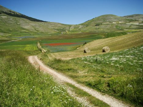 scenery of Piano Grande (Great Plateau) in Sibillini Mountains, central Italy.