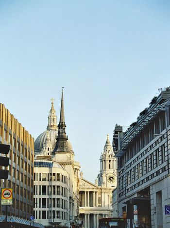 typical London street with St Paul Cathedral