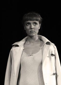 Actress Xenia Alferova in performance `Display of love`