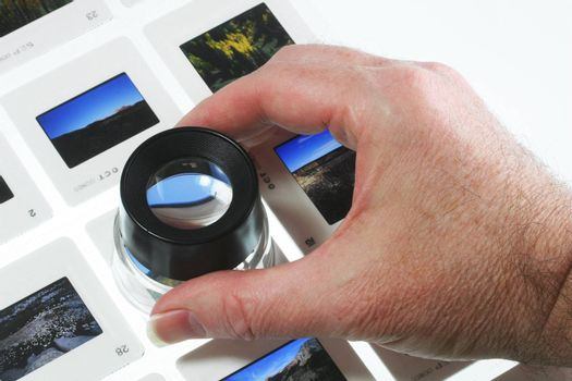 Slides on light box with loupe