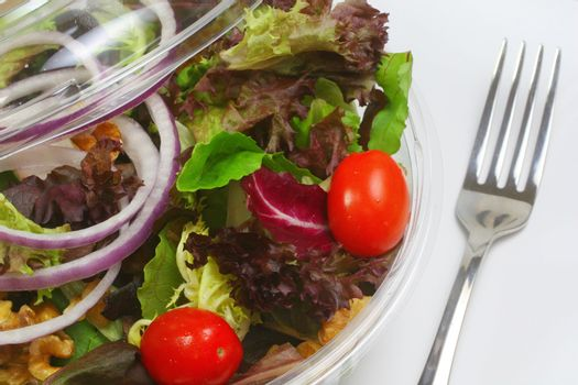 Bistro salad in container with fork.