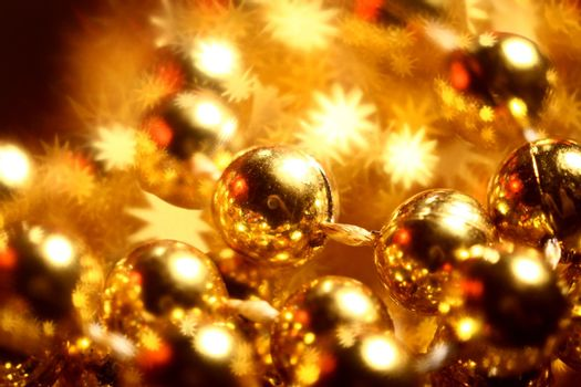 golden stars holiday background close up
