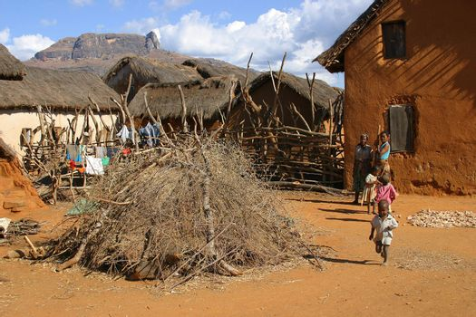A small village in Madagascar with kids running around