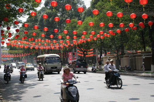 The streets of Saigon with festive balloons