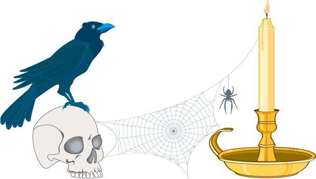crow on a cranium