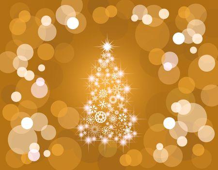 Holiday light background tree gold
