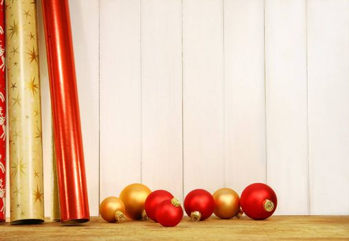 Rolls of holiday wrapping paper
