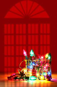 Metal basket filled with lights for decorating