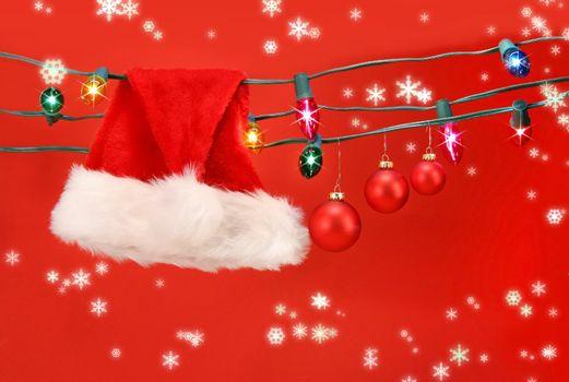 Hanging lights with santa hat