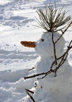 snowman on snowy ground