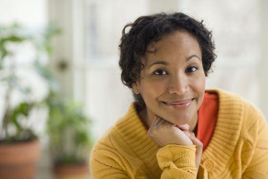 Pretty young black woman