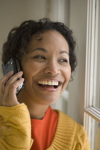 Pretty black woman on cell phone