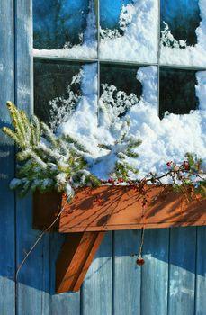 Old window in winter