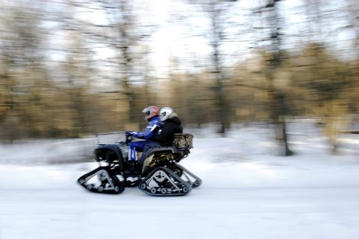 Rally Racing avd  in winter forest.