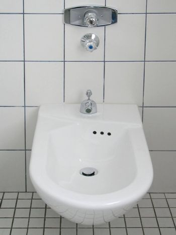 white china bidet in a modern bathroom