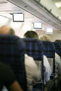Inside dark airplane