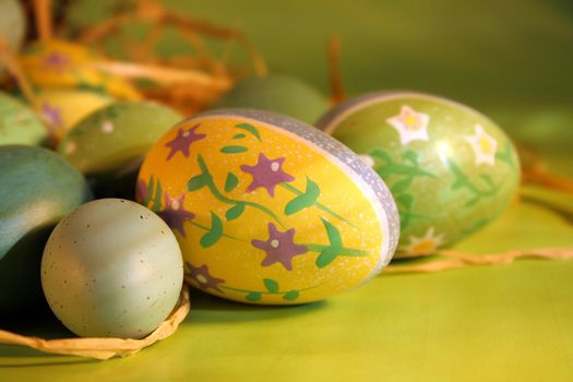 Decorated eggs on the counter