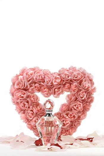 Heart of roses with crystal bottle