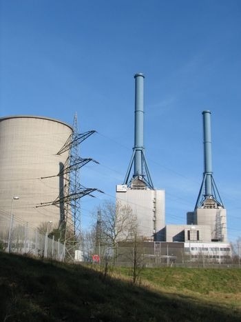 natural gas power plant, with cooling chimneys, Lingen, Germany