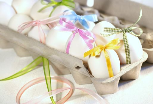 Eggs with ribbons ready for Easter