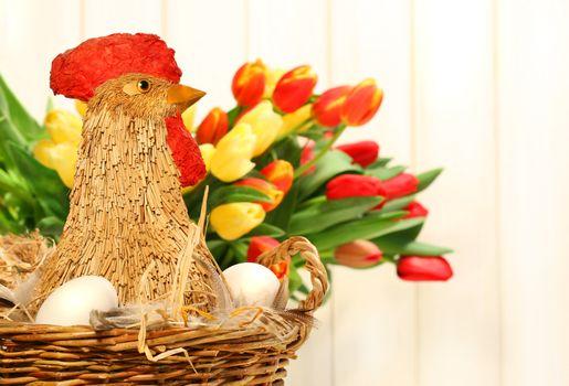 Straw chicken in wicker basket