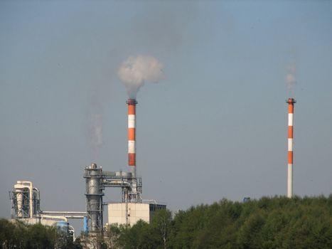 Chimneys, smoking, northern Germany, 2008