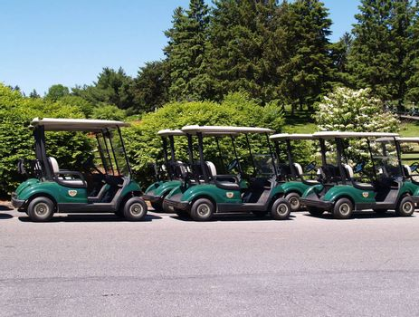 a row of empty golf carts ready for use