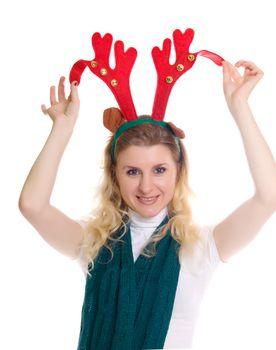 girl wearing a reindeer headband