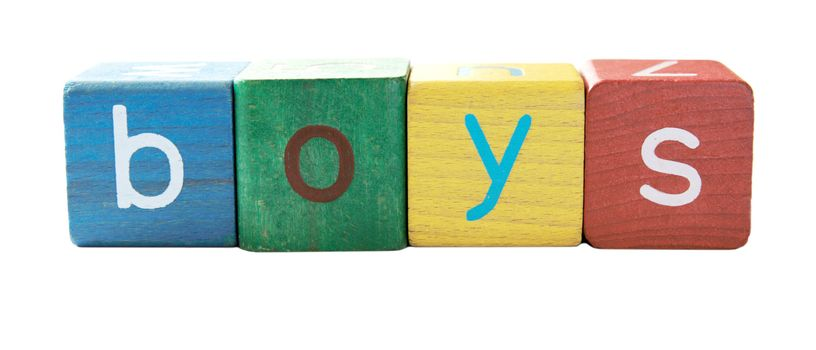 the word 'boys' in colorful children's block letters isolated on white