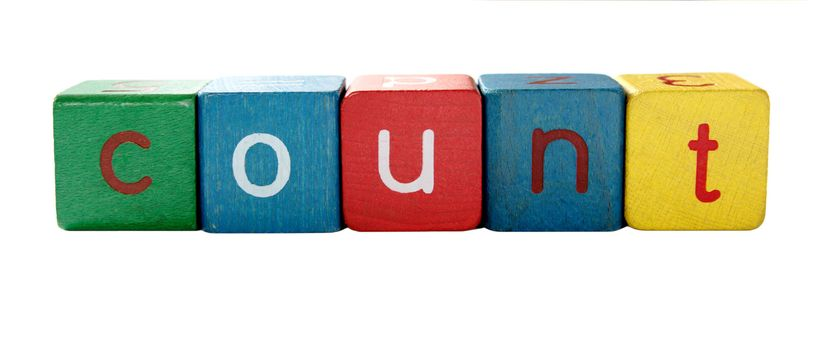 the word 'count' in colorful children's block letters isolated on white