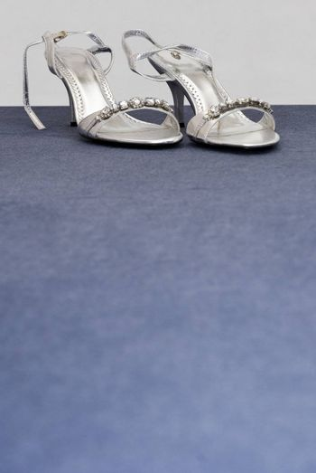 Silver formal wedding shoes at top of frame with blank bue space below