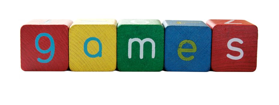 the word 'games' in colorful children's block letters isolated on white
