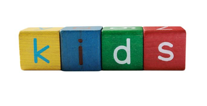 the word 'kids' in colorful children's block letters isolated on white