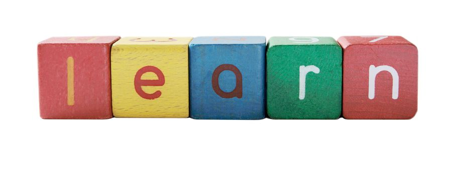 the word 'learn' in colorful children's block letters isolated on white