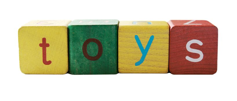 the word 'toys' in colorful children's block letters isolated on white