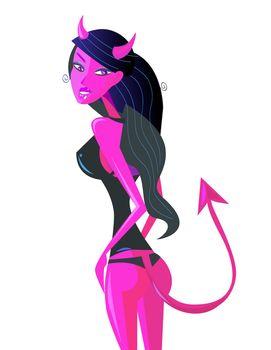 Bad, bad girl. Devil evil girl with hypnotic look. Vector Illustration.