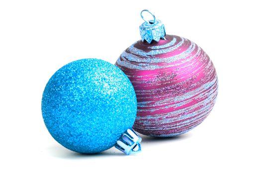 two glass christmas balls