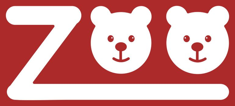 ZOO letters with two smiling bears. Vector illustration.