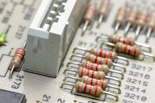Extreme close up shot of objects on circuit board